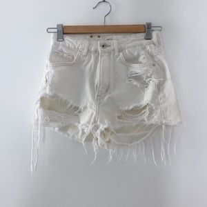 H&M Coachella collection distressed jean shorts